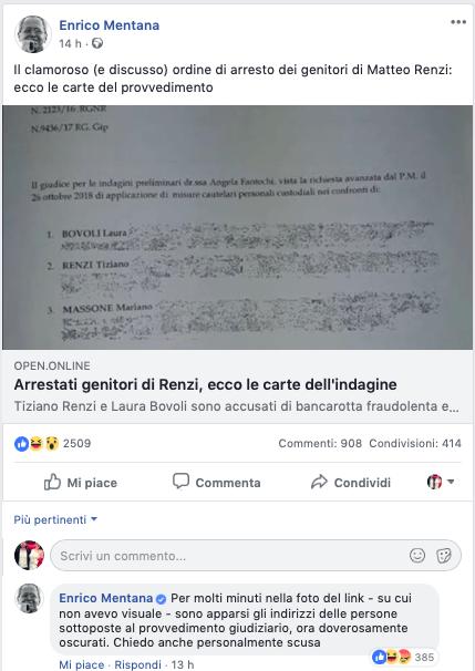 Enrico Mentana, pubblicati per errore i dati sensibili dei genitori di Renzi
