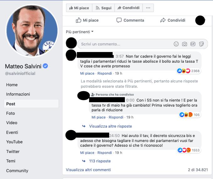 Matteo Salvini apre la crisi di governo: sui social piovono gli insulti