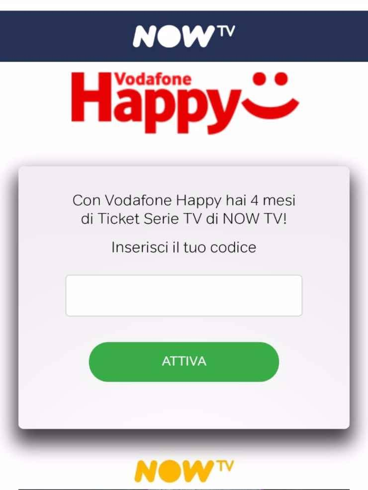 Vodafone Happy Friday | 4 mesi ticket serie tv NOW TV in regalo | codice