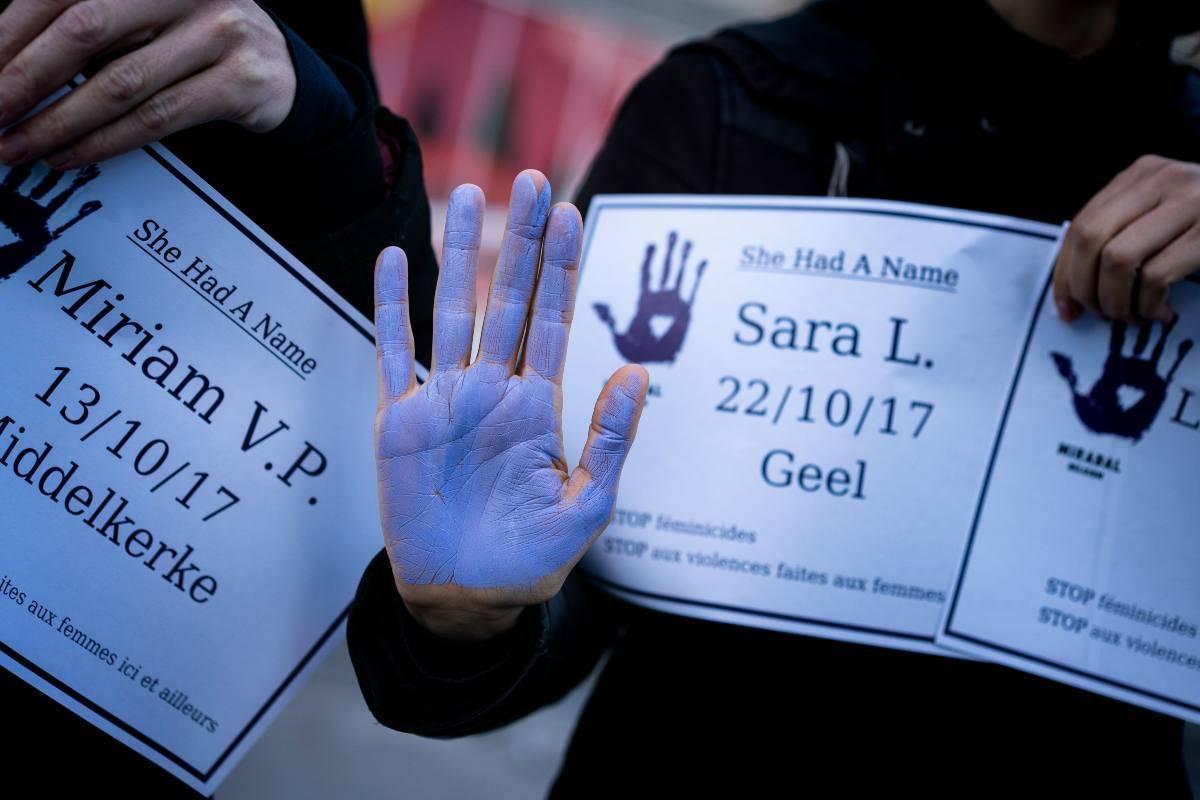 Manifestazione contro la violenza sulle donne in Belgio
