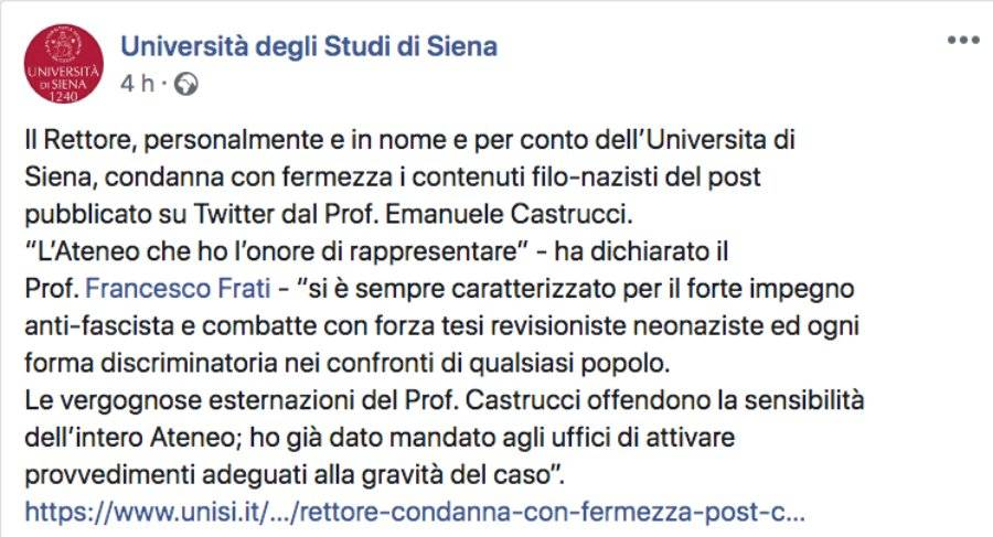 Post di Facebook dell'università di Siena