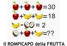 Test rompicapo - indovinello della frutta: in pochi lo risolvono, e tu?