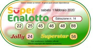 superenalotto 1 febbario 2020