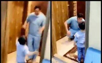 Il bimbo abbraccia suo papà medico ma lui lo ferma e piange