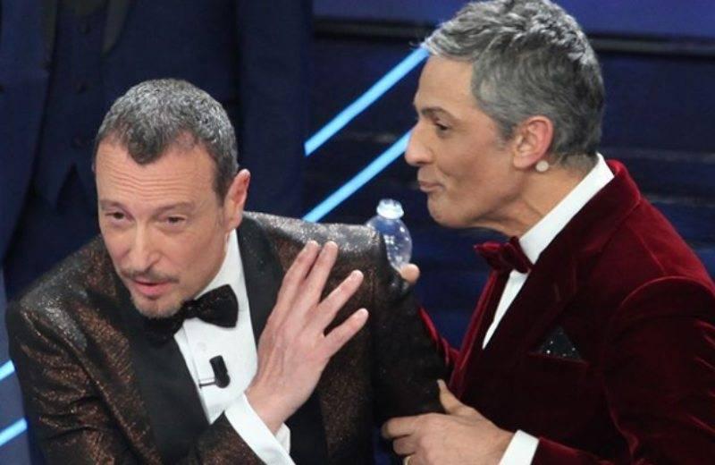 Amadeus e Fiorello durante Sanremo 2020