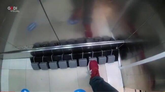 Ascensore con pedali (fonte da Youtube)