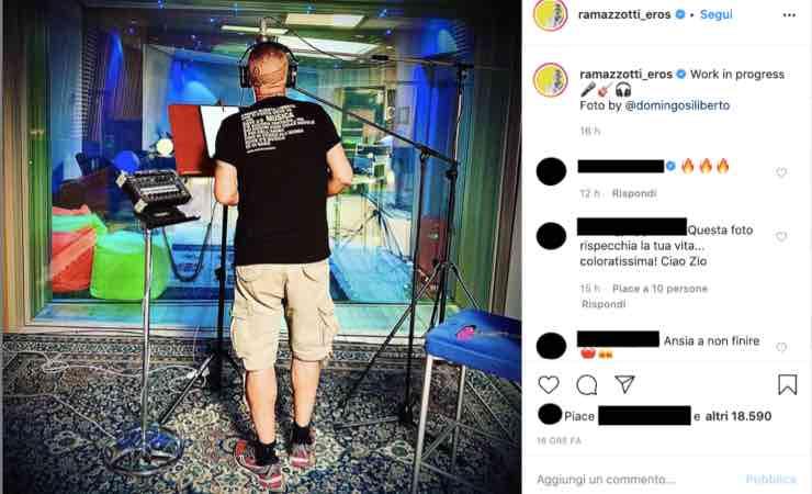 Eros Ramazzotti sta tornando: la sua maglia in foto dice tutto