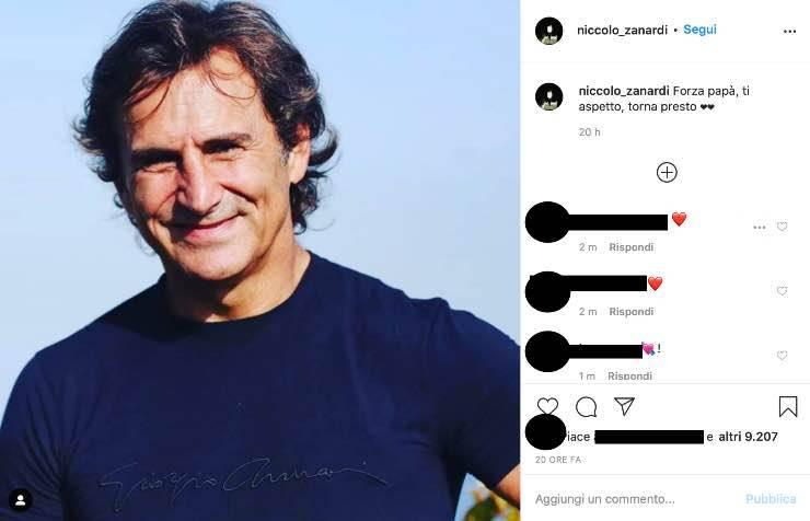 """Alex Zanardi, il commovente messaggio di Niccolò: """"Forza papà"""""""