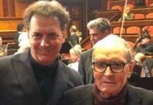 Ennio Morricone con il figlio Andrea (fonte Instagram @andreamorriconeofficial)