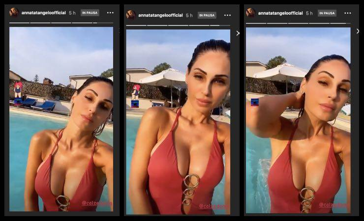 Anna Tatangelo bikini scollato e mano tra i capelli: da urlo