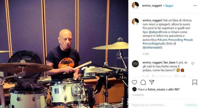 Enrico Ruggeri (fonte Instagram @enrico_ruggeri)