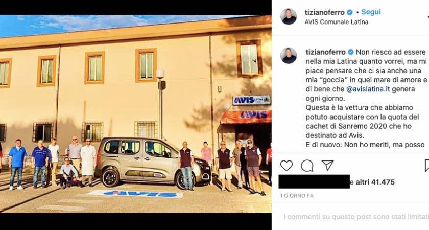 """Tiziano Ferro versa la sua """"goccia"""": gesto nobile per la città"""