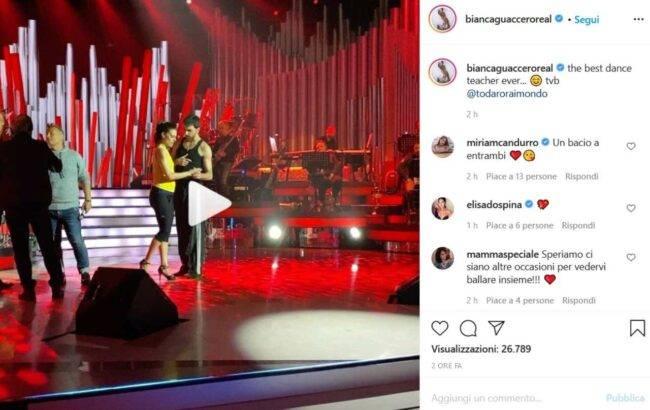 Bianca Guaccero e Raimondo Todaro (fonte Instagram @biancaguacceroreal)