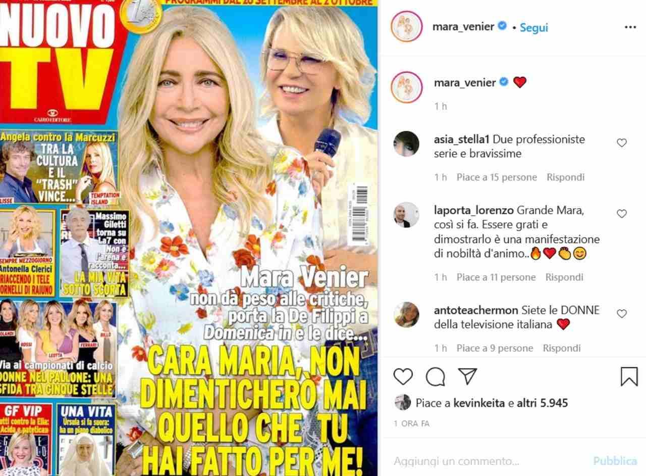 Mara Venier e Maria De Filippi (fonte Instagram @mara_venier)