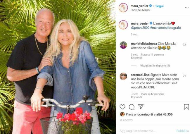 Mara Venier e Nicola Carraro (fonte Instagram @mara_venier)