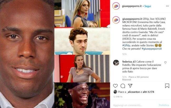 Lite tra Enock e Guenda (fonte Instagram @giuseppeporro.it)