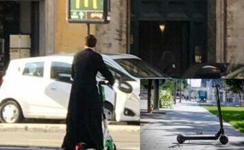 Roma, il curioso caso del prete sul monopattino elettrico