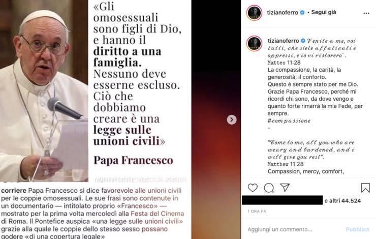 """Tiziano Ferro commosso per Papa Francesco: """"mi ricordi chi sono"""""""