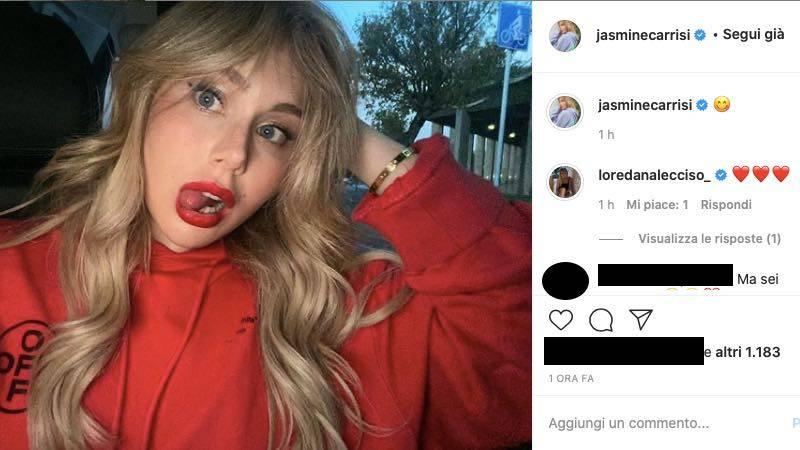 Jasmine Carrisi in rosso all'assalto dei fan: che novità per lei