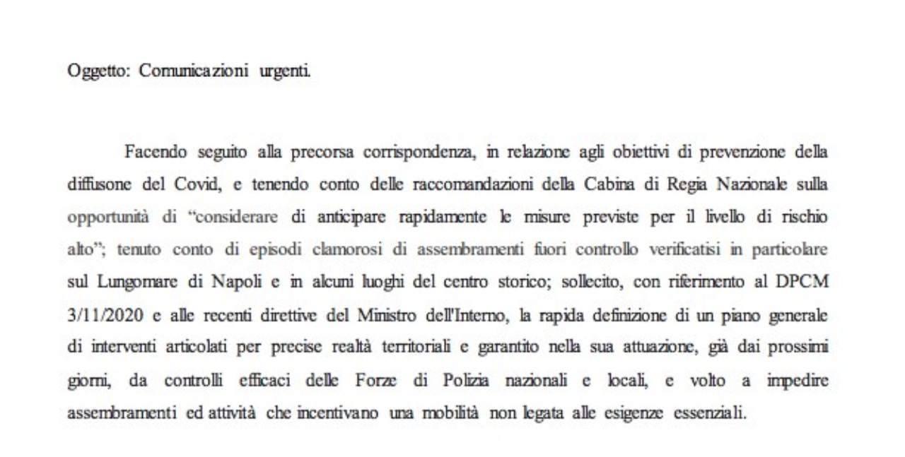 Lettera De Luca Prefetto