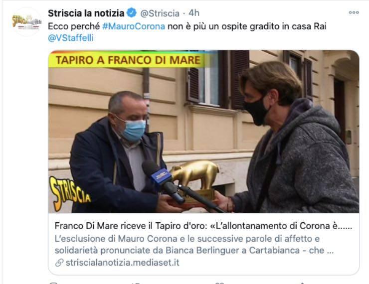 Tapiro di Striscia per Franco Di Mare: Corona e i diritti delle donne