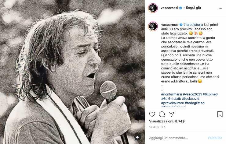 """Vasco Rossi, la denuncia social: """"le mie canzoni non erano pericolose"""""""