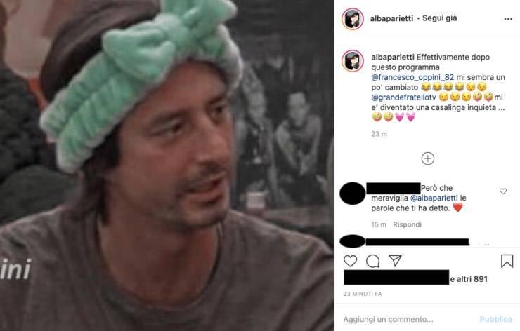 """Alba Parietti dà della """"casalinga"""" al figlio Oppini: ironia e foto"""