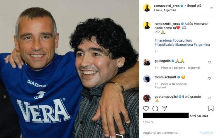 Eros Ramazzotti, addio da brividi a Maradona: la foto commuove