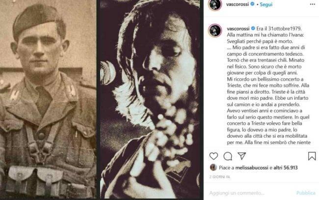 Vasco Rossi e il padre (fonte Instagram @vascorossi)