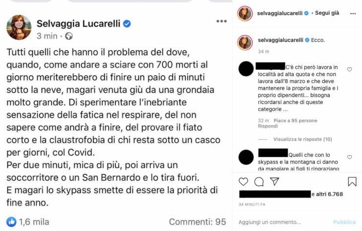 """Selvaggia Lucarelli a gamba tesa: """"fiato corto e claustrofobia"""""""