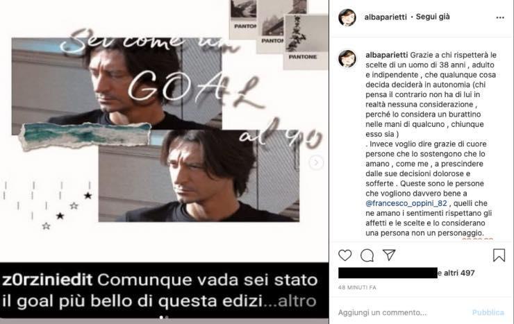 """Alba Parietti difende la scelta di Francesco Oppini: """"Infelice"""""""