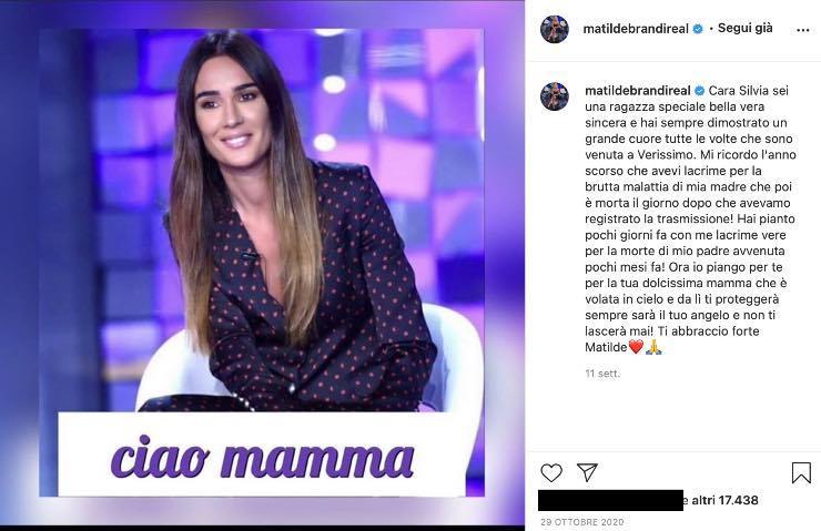 """Matilde Brandi, quella dolce dedica a Silvia Toffanin: """"io piango per te"""""""