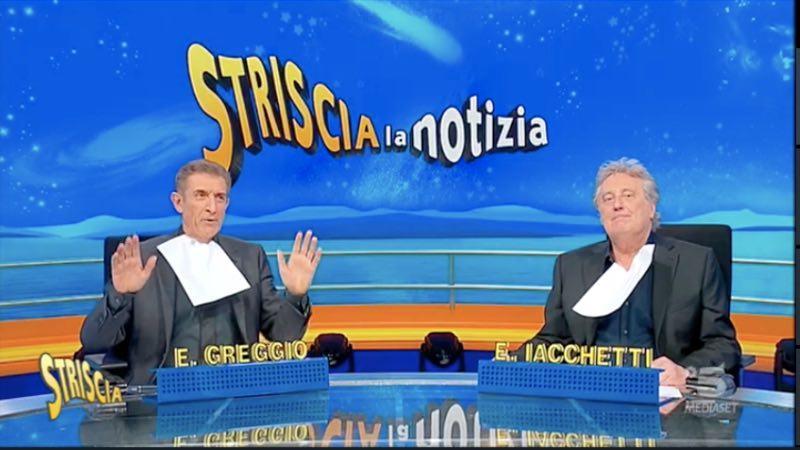 """Enzo Iacchetti a Striscia, non ci sta: """"Persona violenta"""""""