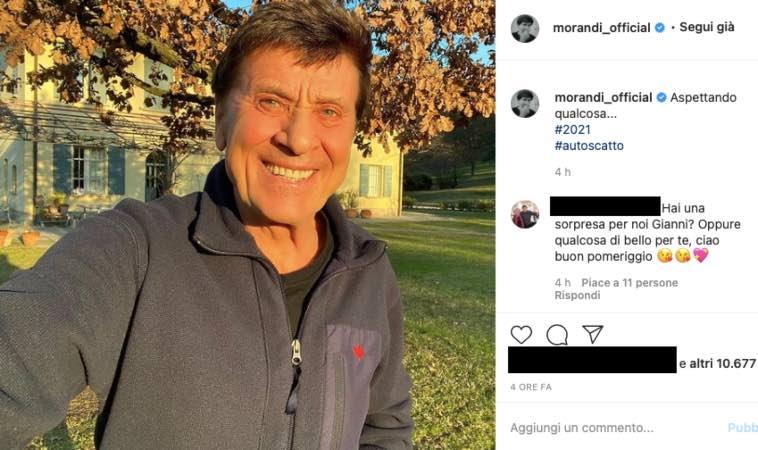 Gianni Morandi frase enigmatica: ansia dei fan, fiume di domande