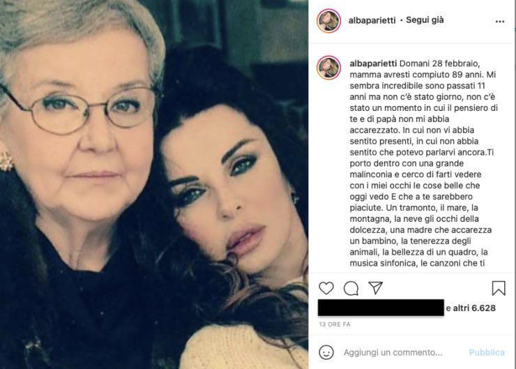 """Alba Parietti """"Vorrei averti qui ancora"""": la dedica è straziante"""