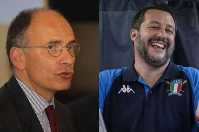 Enrico Letta e Matteo Salvini (Getty Images)