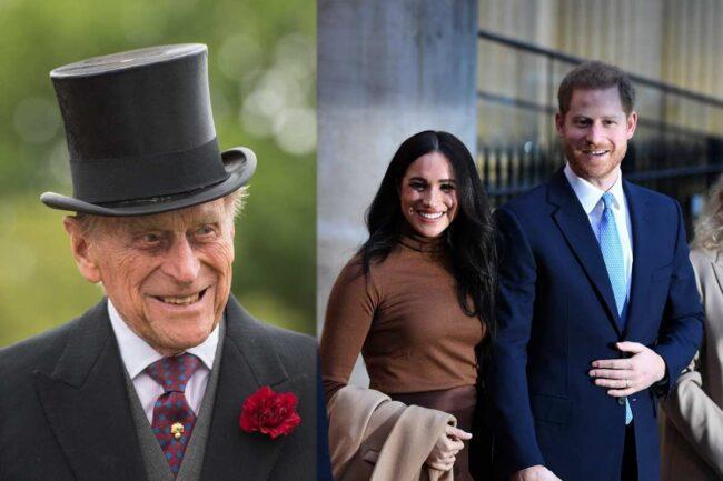Filippo di Edimburgo, Meghan Markle e Harry Mountbatten-Windsor (Getty Images)
