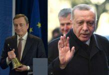 Mario Draghi ed Erdogan (Getty Images)