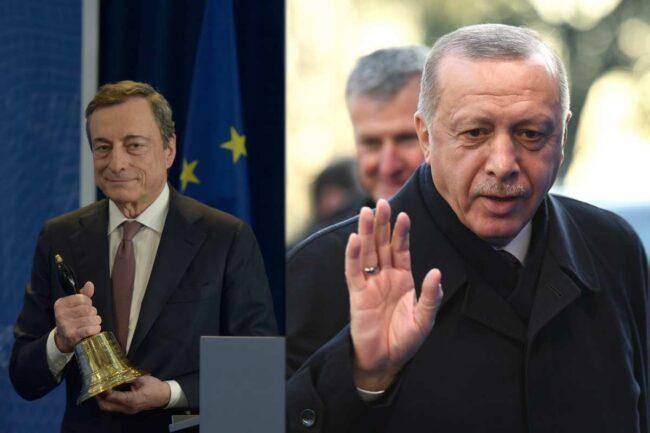 Mario Draghi ed Erdogan (Getty Images)