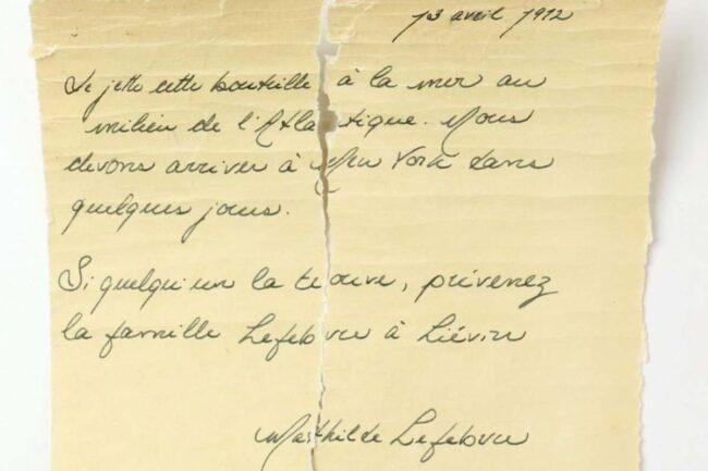 Lettera giunta dal Titanic (Nicolas Beaudry-UQAR _ Pen News)