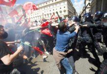Scontri Roma (Twitter - Caludio Guaitoli)