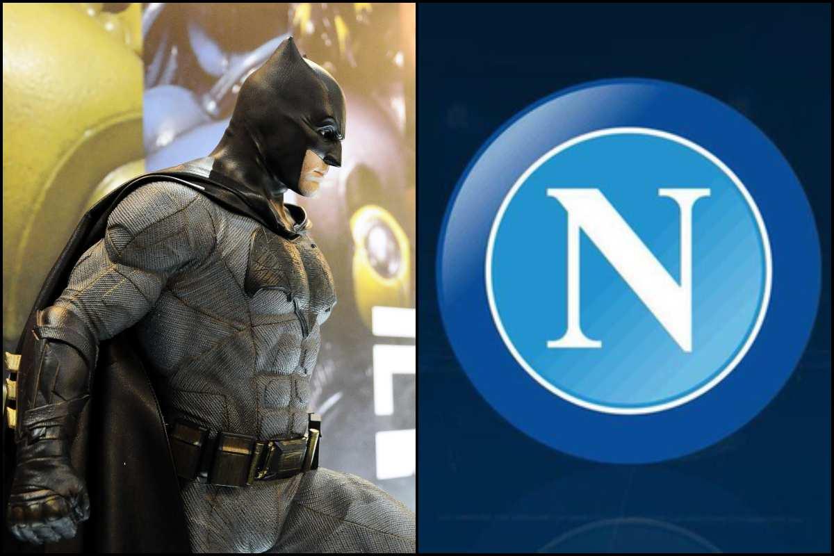 Batman e logo Napoli (AdobeStock e Twitter)