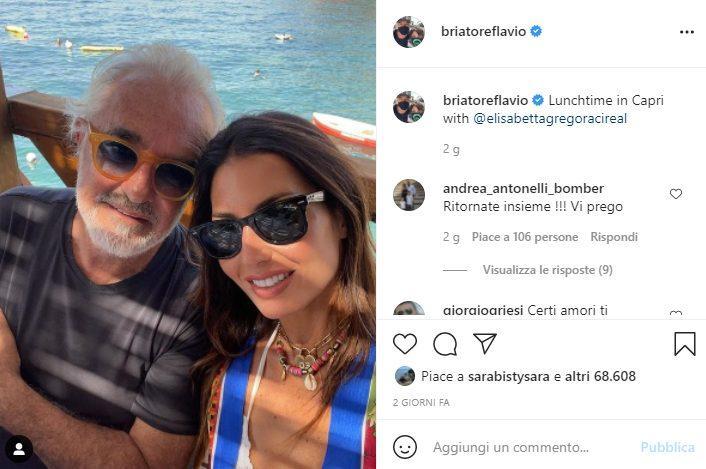 Elisabetta Gregoraci e Flavio Briatore a Capri (Instagram)