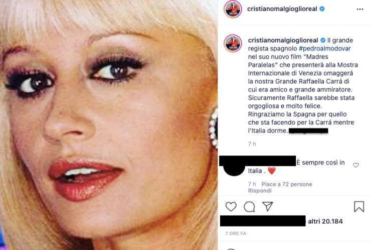 Cristiano Malgioglio non ci sta, prende posizione: c'entra la Carrà
