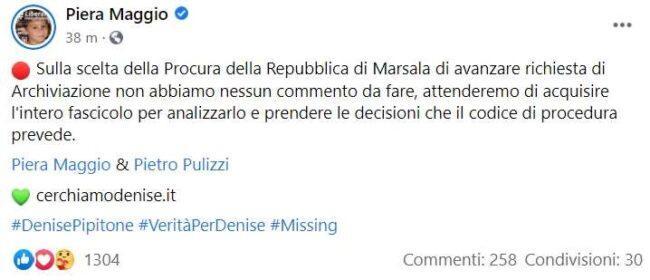 Post di Piera Maggio (Facebook)