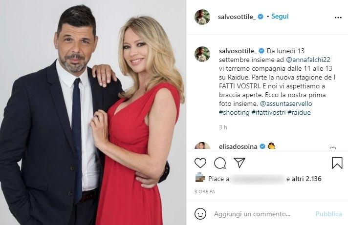 Salvo Sottile e Anna Falchi, I Fatti Vostri (Post Instagram)